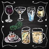 Elementos dibujados mano del menú del cóctel. Fotos de archivo
