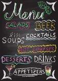 Elementos dibujados mano del menú del restaurante. Fotografía de archivo