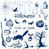 Elementos dibujados mano del partido de Halloween del garabato Objetos azules de la pluma, fondo del cuaderno Ejemplo del diseño  Fotos de archivo