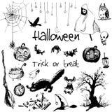 Elementos dibujados mano del partido de Halloween del garabato Objetos negros, fondo blanco Ejemplo del diseño para el cartel, av Foto de archivo