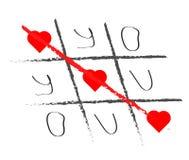 Elementos dibujados mano del tic-TAC-dedo del pie Símbolo feliz del día de tarjetas del día de San Valentín Fotografía de archivo