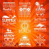 Elementos dibujados mano retra para el verano caligráfico Imágenes de archivo libres de regalías