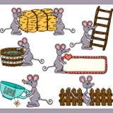 Elementos digitais ajustados do rato bonito Ilustração do Vetor