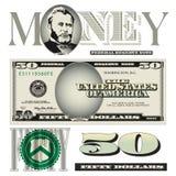 50 elementos diversos del billete de dólar Imagenes de archivo
