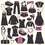Elementos da loja de roupa ilustração royalty free