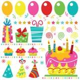 Elementos do aniversário da surpresa ilustração royalty free