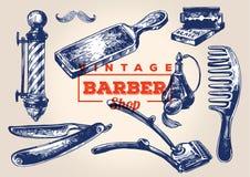 Elementos do barbeiro do vintage Grupo 1 ilustração royalty free