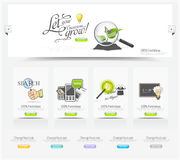 Elementos do carrossel do design web com os ícones ajustados Foto de Stock Royalty Free