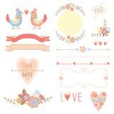 Elementos do casamento das flores e dos pássaros Foto de Stock