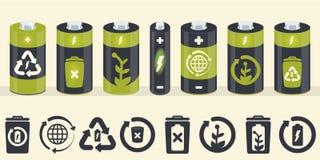 Elementos do cilindro da bateria do vetor Ícones de Eco ajustados ilustração stock