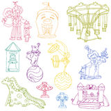 Elementos do circo do vintage - doodles desenhados mão Fotos de Stock Royalty Free