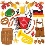 Elementos do clipart do partido de Oktoberfest foto de stock
