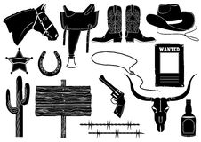 Elementos do cowboy. Vida ocidental Fotos de Stock Royalty Free