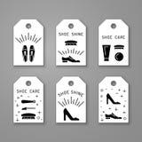 Elementos do cuidado da sapata ilustração stock