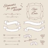 Elementos do desenho para o projeto casamento Fotos de Stock