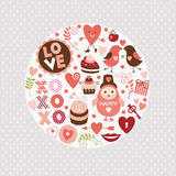 Elementos do dia de Valentim Foto de Stock