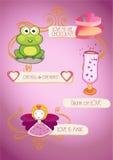 Elementos do dia do ` s do Valentim e caráteres gráficos, coleção do vetor Fotos de Stock Royalty Free