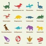Elementos do dinossauro ilustração stock
