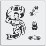 Elementos do emblema e do projeto da aptidão Ilustração do halterofilista Foto de Stock Royalty Free