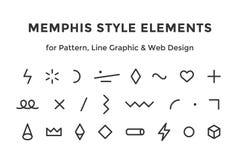 Elementos do estilo de Memphis Fotografia de Stock