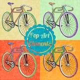Elementos do estilo do pop art Grupo de bicicletas do vetor Imagens de Stock Royalty Free