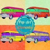 Elementos do estilo do pop art Grupo de ônibus do vetor Imagem de Stock