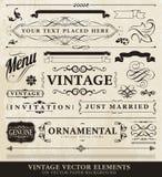 Elementos do estilo do vintage do vetor Foto de Stock Royalty Free