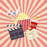 Elementos do filme e do filme no projeto liso Imagem de Stock