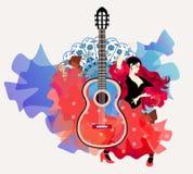 Elementos do fogo e da água, personificados na dança do flamenco Menina espanhola bonita - dançarino ilustração stock