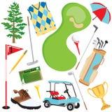 Elementos do golfe ilustração do vetor