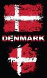 Elementos do Grunge com a bandeira de Dinamarca Ilustração Stock