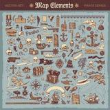 Elementos do mapa e artigos do pirata ilustração royalty free