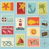 Elementos do mar - coleção de selo Imagem de Stock