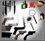 Elementos do mistério de assassinato ilustração stock