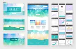 Elementos do molde e da relação do projeto do Web site ilustração do vetor