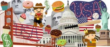 Elementos do nacional dos desenhos animados Foto de Stock Royalty Free