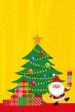 Elementos do Natal do fundo dourado ilustração do vetor