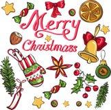 Elementos do Natal isolados no fundo branco ilustração royalty free
