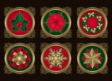 Elementos do Natal no ouro (ajuste 2) Imagens de Stock Royalty Free