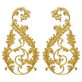 Elementos do ornamento, designs florais do ouro do vintage foto de stock