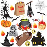 Elementos do partido da arte de grampo de Halloween Imagem de Stock