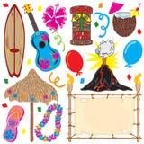 Elementos do partido de Tiki grandes para um partido havaiano! Imagens de Stock