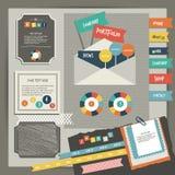 Elementos do portfólio do vintage do design web A coleção de etiquetas da cor, discurso borbulha, mensagem de texto, ícones, mão  Fotografia de Stock