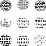 Elementos do projeto, coleção do logotipo, esfera abstrata, coleção dos elementos do projeto, esferas diferentes ilustração do vetor
