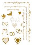 Elementos do projeto do convite do casamento Elementos ornamentado para a decoração do casamento Ilustração do vetor Imagens de Stock Royalty Free