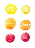 Elementos do projeto da aquarela - amor e felicidade imagem de stock royalty free