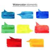Elementos do projeto da aquarela Molde isolado colorido do aquarelle para o discurso Fotografia de Stock Royalty Free
