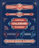 Elementos do projeto da bandeira e da fita do vintage Fotografia de Stock