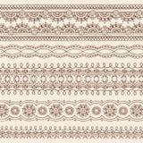 Elementos do projeto da beira do vetor do Doodle de Mehndi do Henna Fotografia de Stock