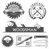 Elementos do projeto da carpintaria e da carpintaria no vintage ilustração do vetor